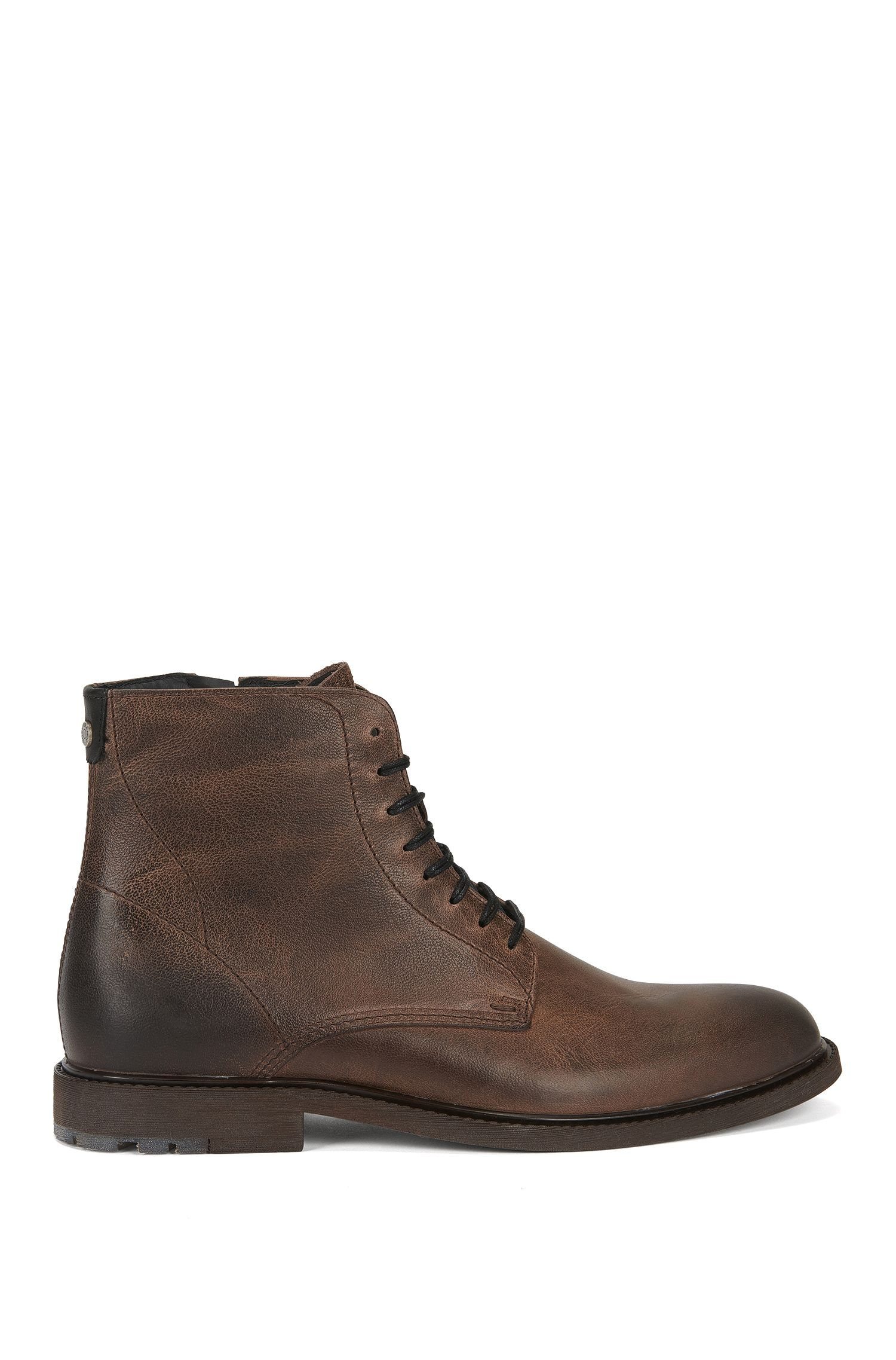 Lace-up half boots in washed leather