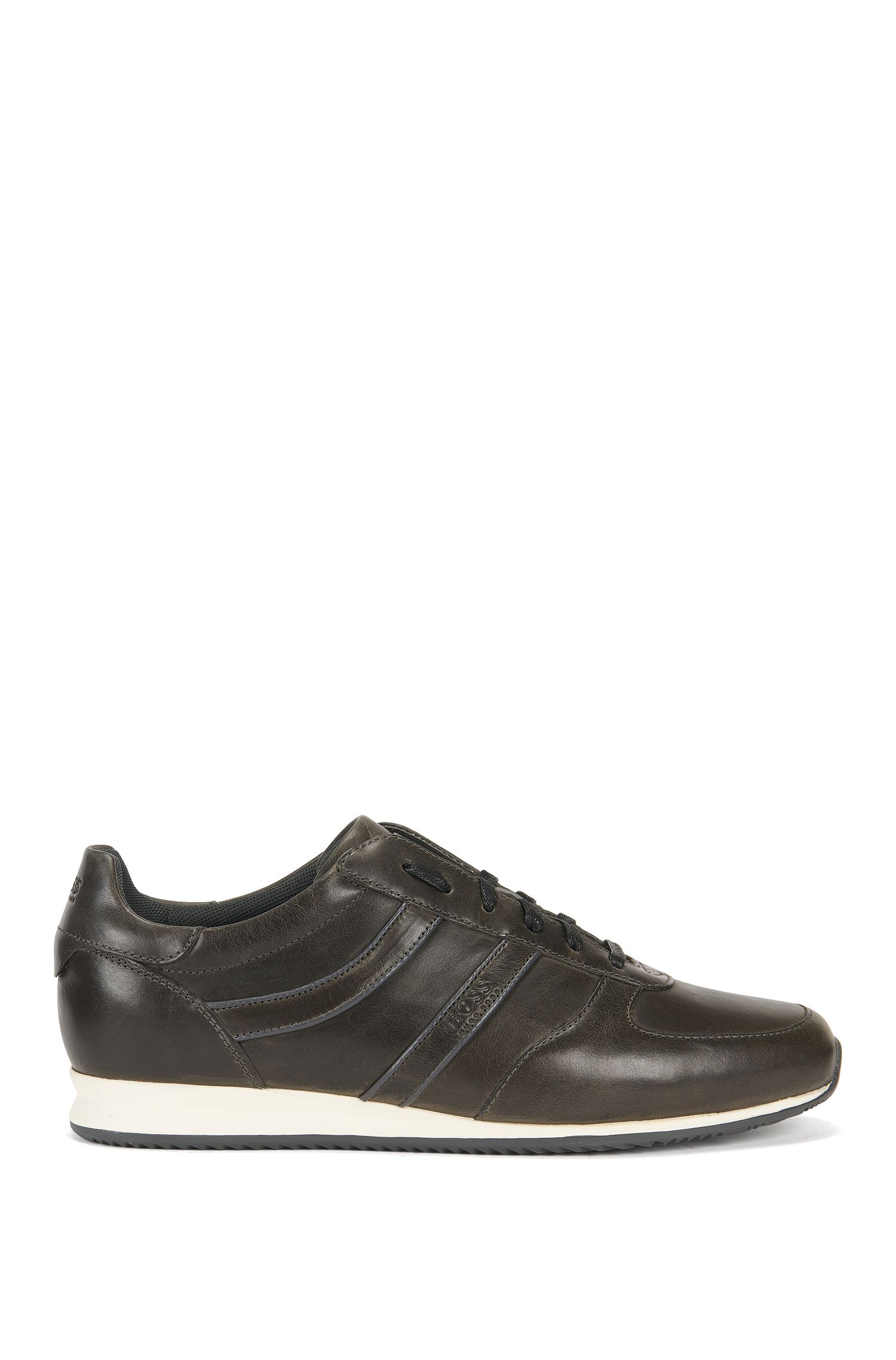 Low-top trainers in pull-up leather