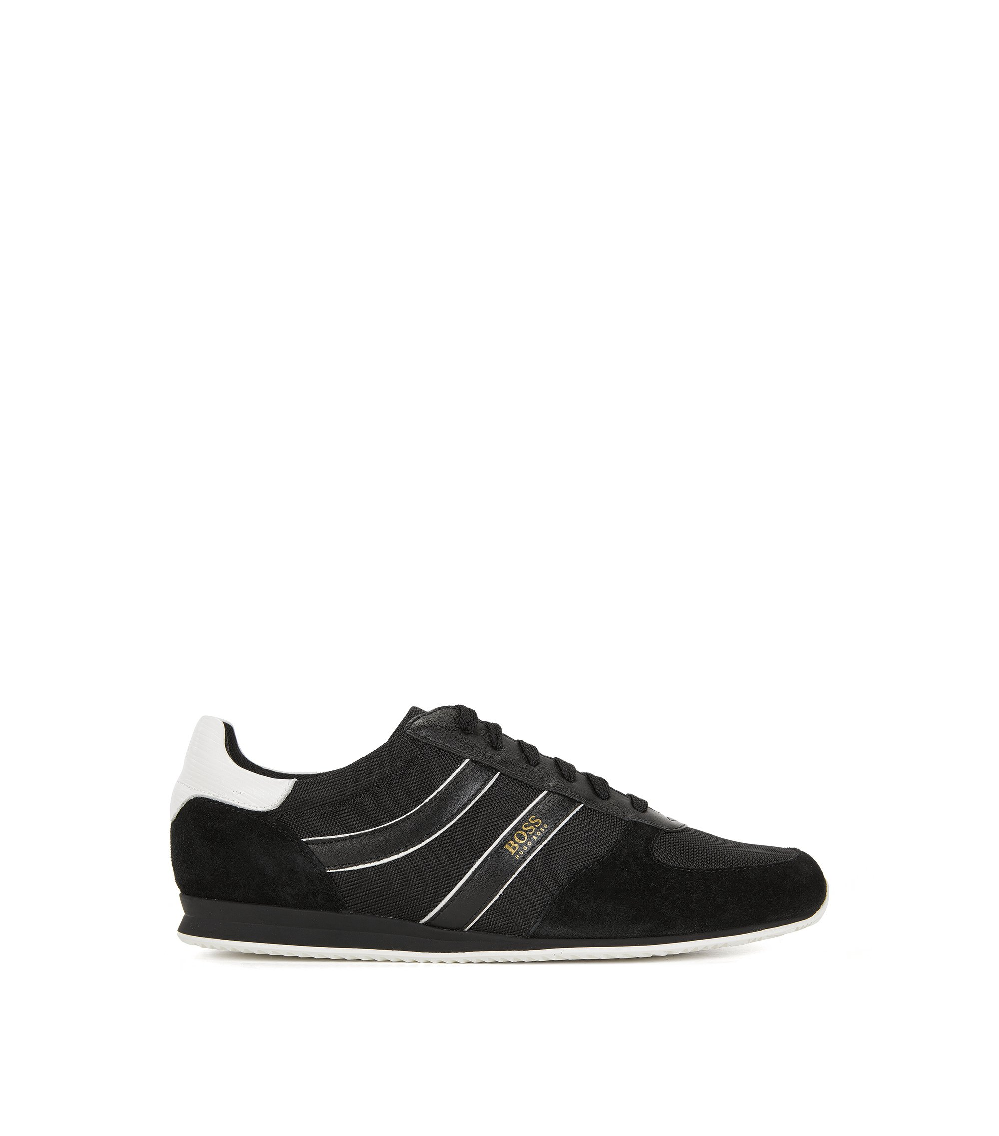 Sneakers low-top con rivestimenti in pelle scamosciata, Nero