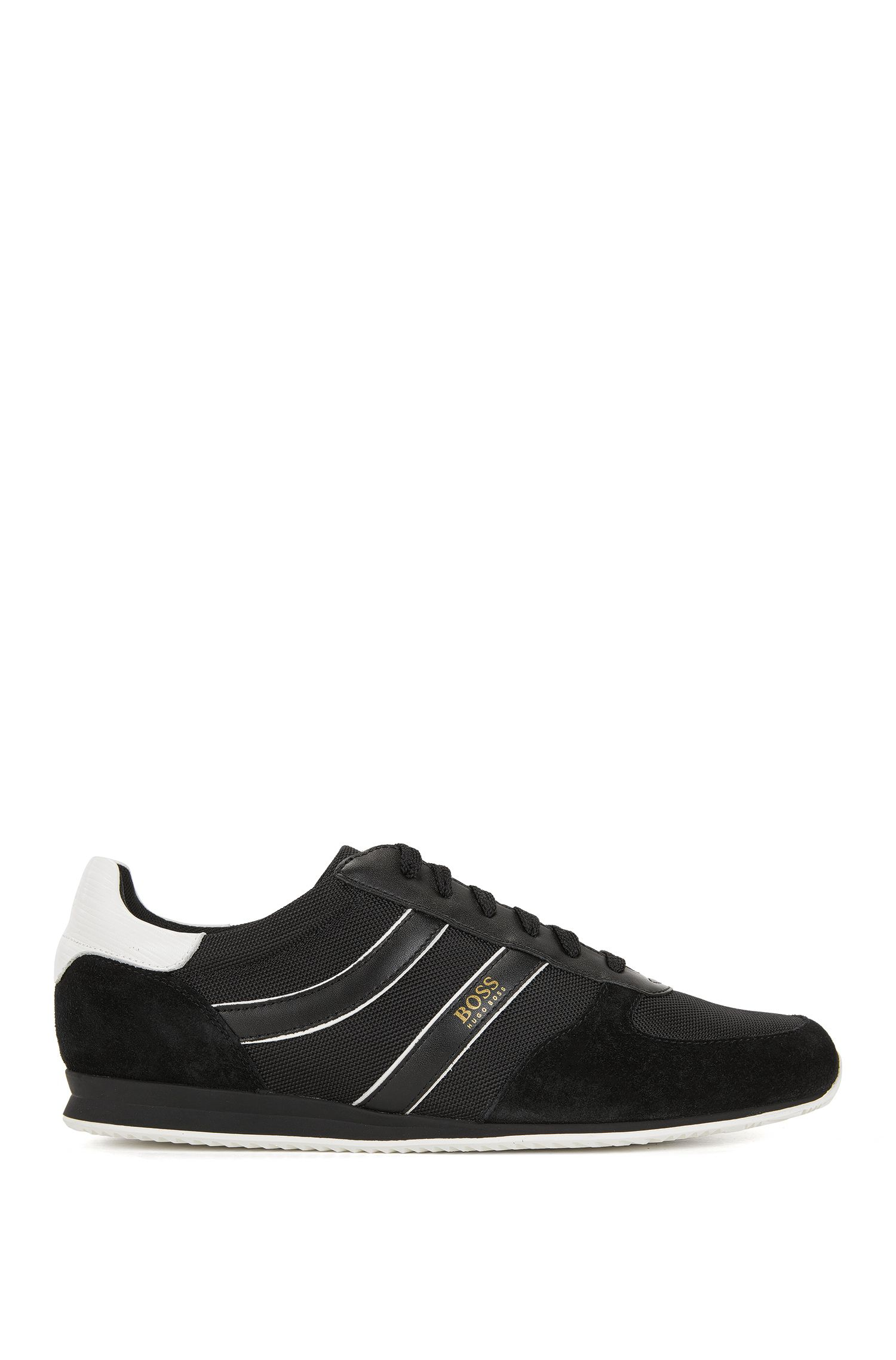 Sneakers low-top con rivestimenti in pelle scamosciata