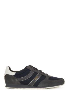 Lage sneakers met suède garneersels, Donkergrijs
