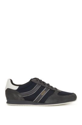 Low-top trainers with suede overlays, Dark Grey
