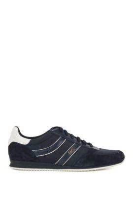 Lage sneakers met suède garneersels, Donkerblauw