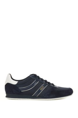 Low-top trainers with suede overlays, Dark Blue