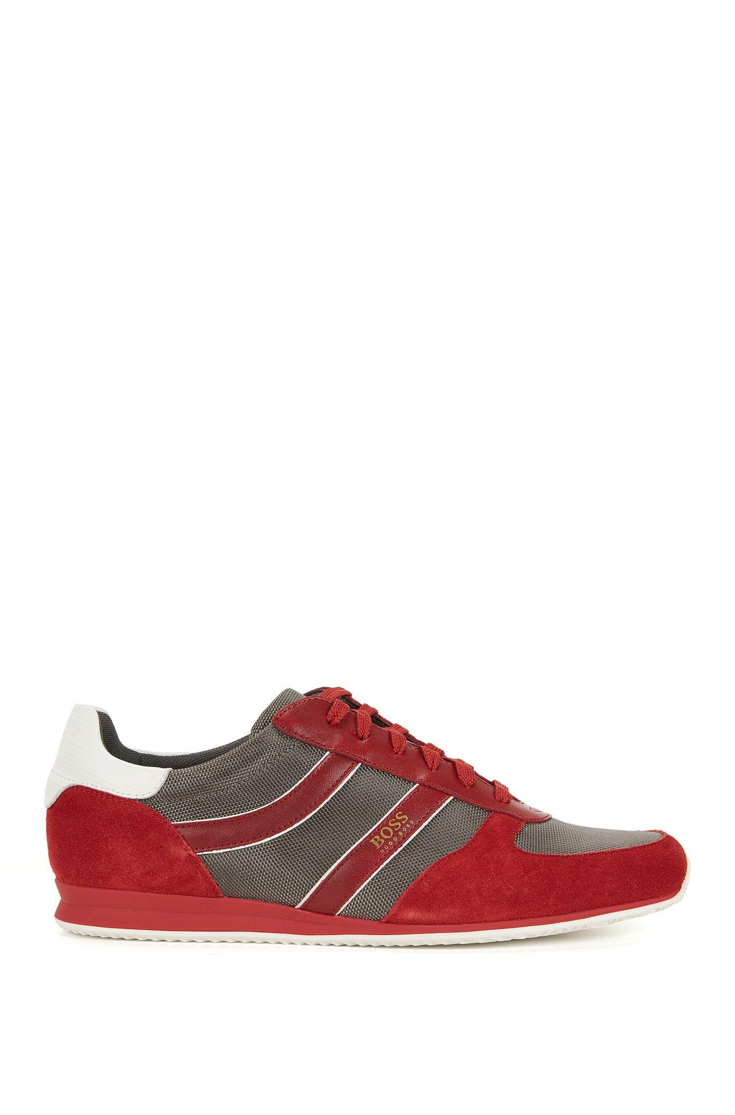 Sneakers low-top con rivestimenti in pelle scamosciata
