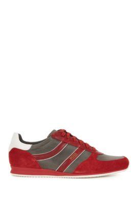 Sneakers mit Veloursleder-Details, Rot
