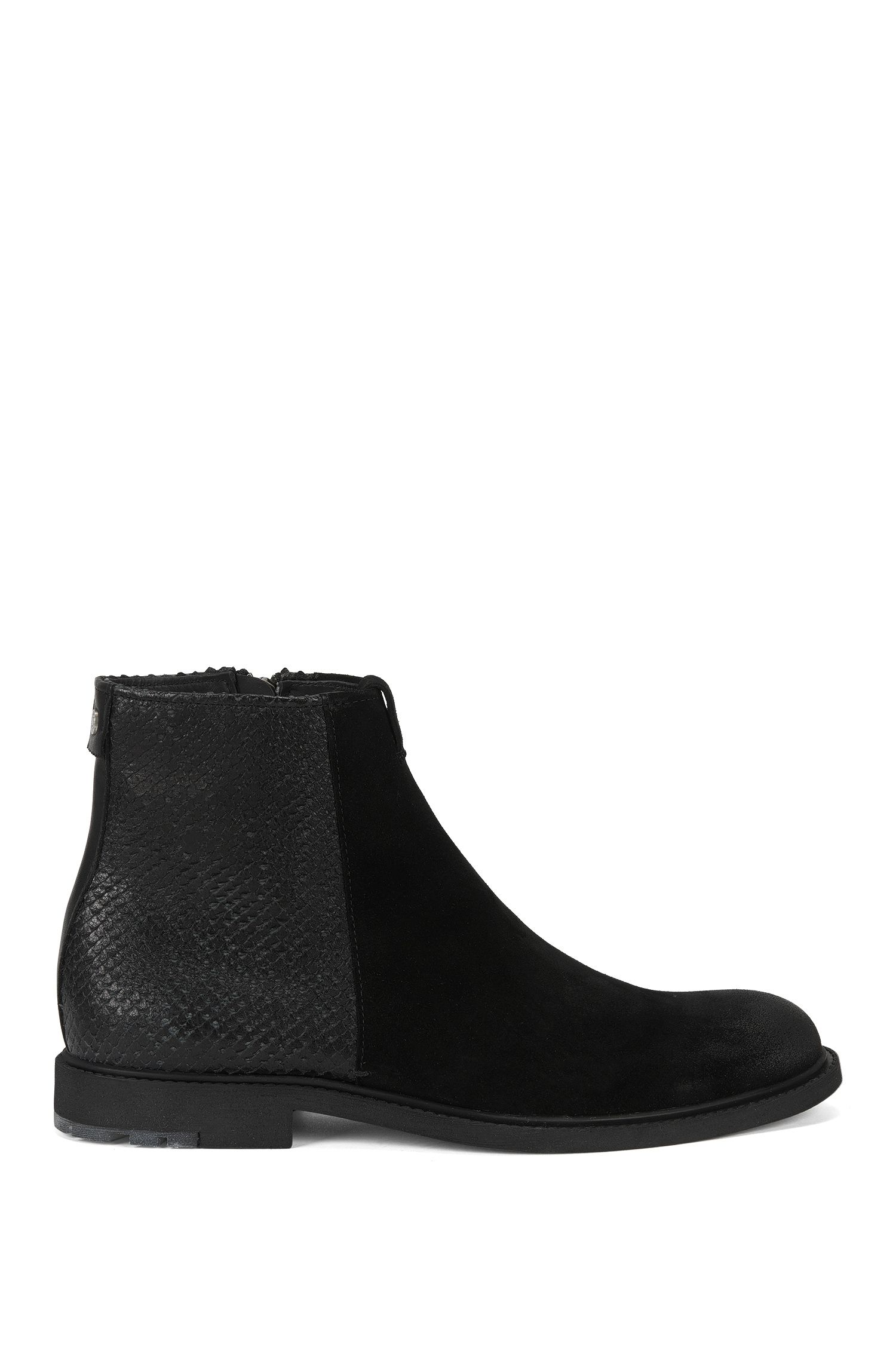 Ankle boots in washed suede and lasered leather