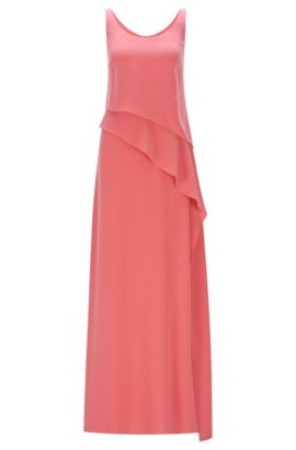 Layered maxi dress in fluid crepe, Light Red