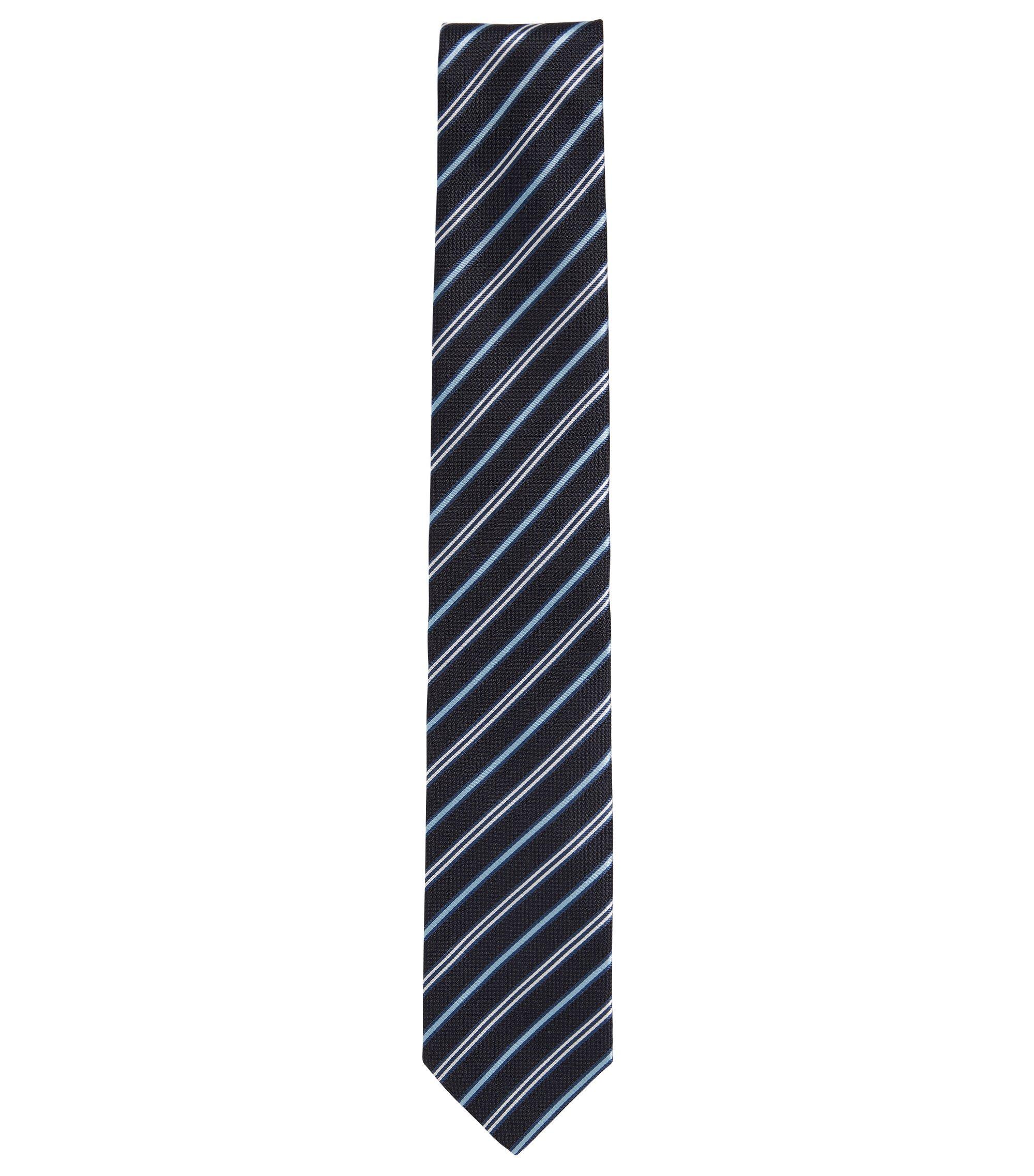 Cravate en soie à rayures diagonales, Bleu foncé