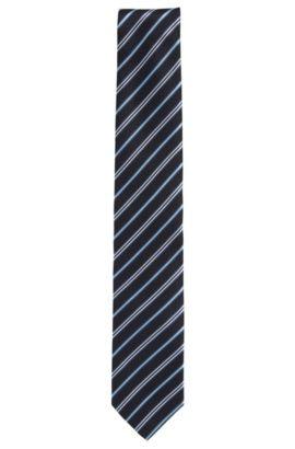 Zijden stropdas met diagonale strepen, Donkerblauw