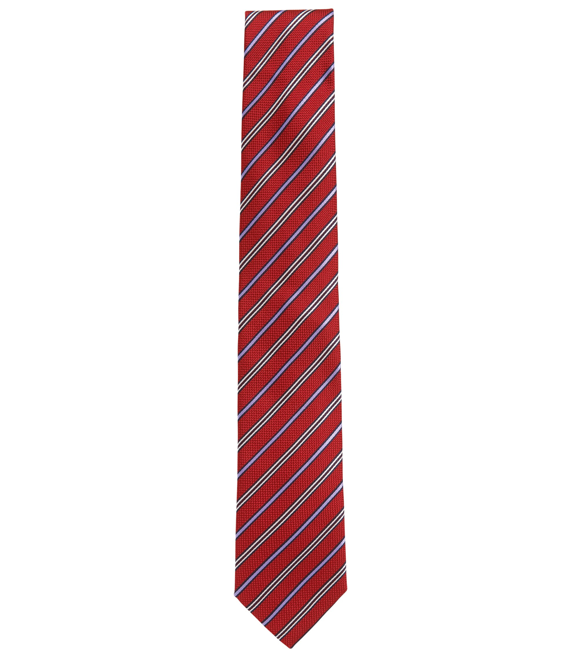 Silk tie with diagonal stripes, Dark Red