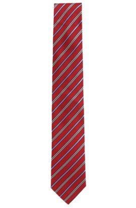 Cravatta in seta con righe diagonali, Rosso scuro