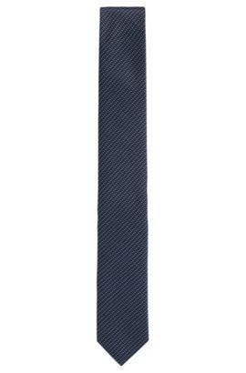 Cravatta in seta con microdisegno intricato, Blu scuro