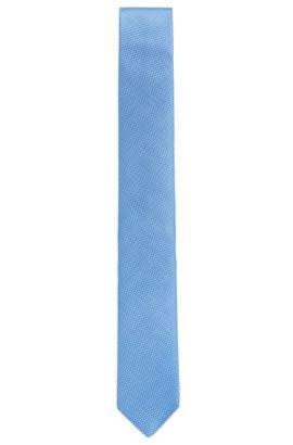 Zijden stropdas met een gedetailleerd microdessin, Lichtblauw