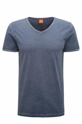 T-shirt Regular Fit en coton garment dyed, Bleu foncé
