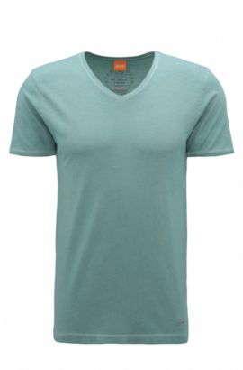 T-shirt regular fit in cotone tinto in capo BOSS Orange, Turchese
