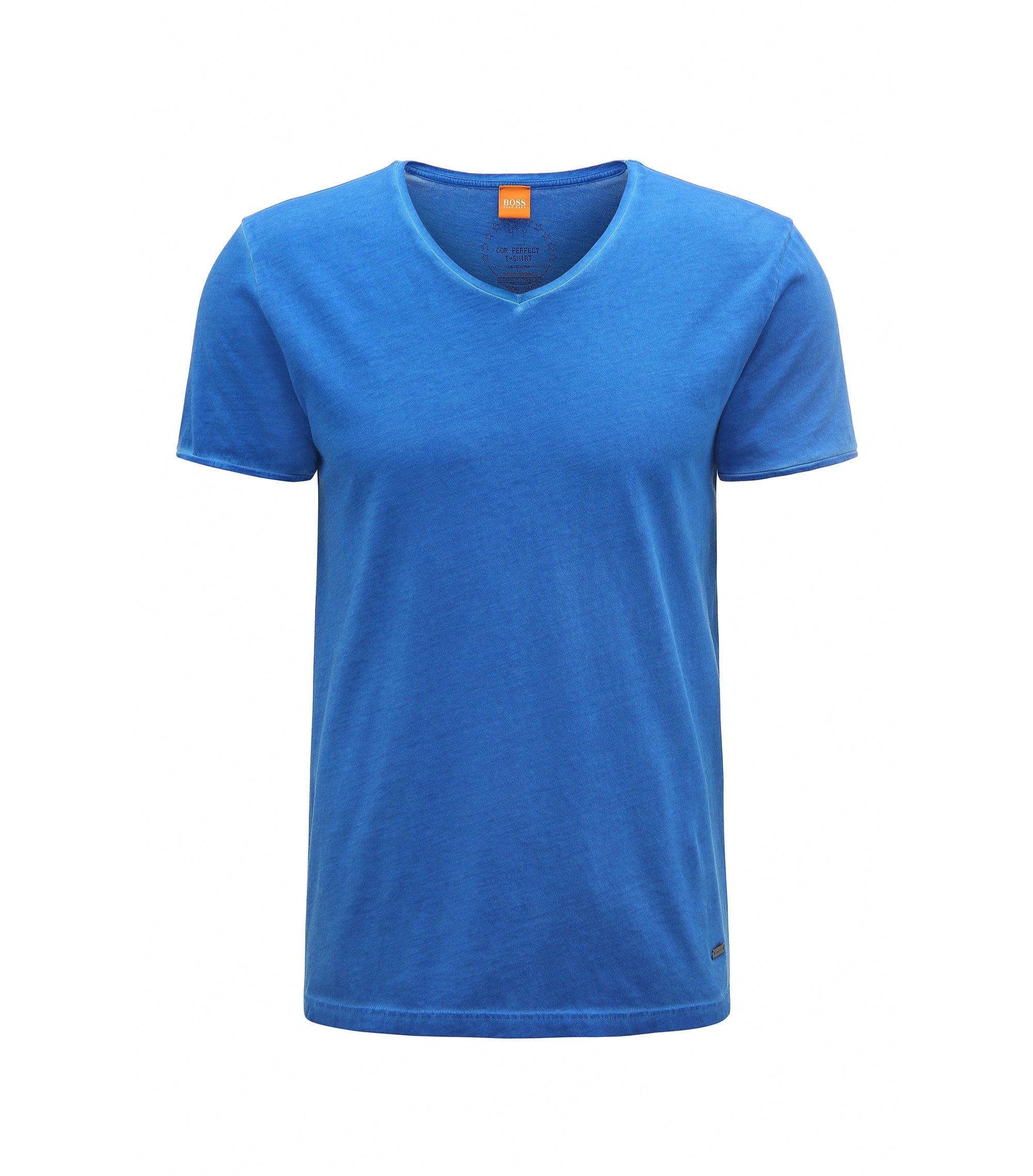 T-shirt regular fit in cotone tinto in capo BOSS Orange, Blue Scuro