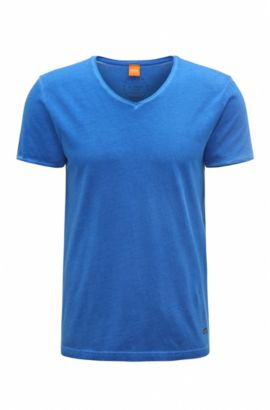 T-shirt regular fit in cotone tinto in capo BOSS Orange, Blue Scuro