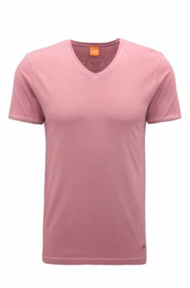 Regular-fit T-shirt van garment dyed katoen, Lichtroze