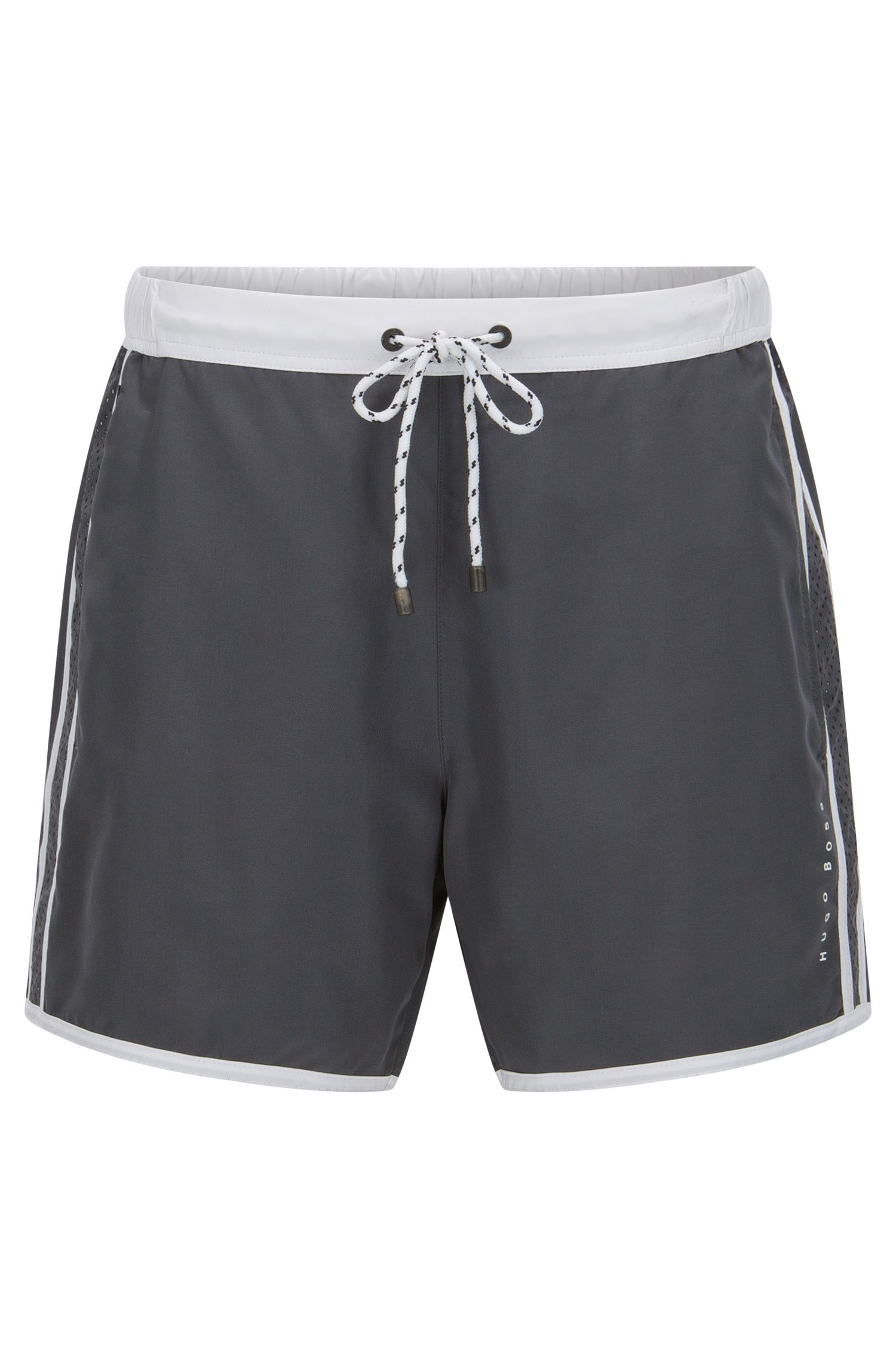 Technical-fabric swim shorts with contrast piping