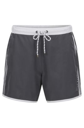 Technical-fabric swim shorts with contrast piping, Open Grey