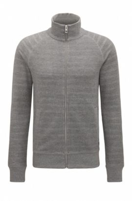 Sweat zippé Regular Fit en tissu éponge, Gris chiné
