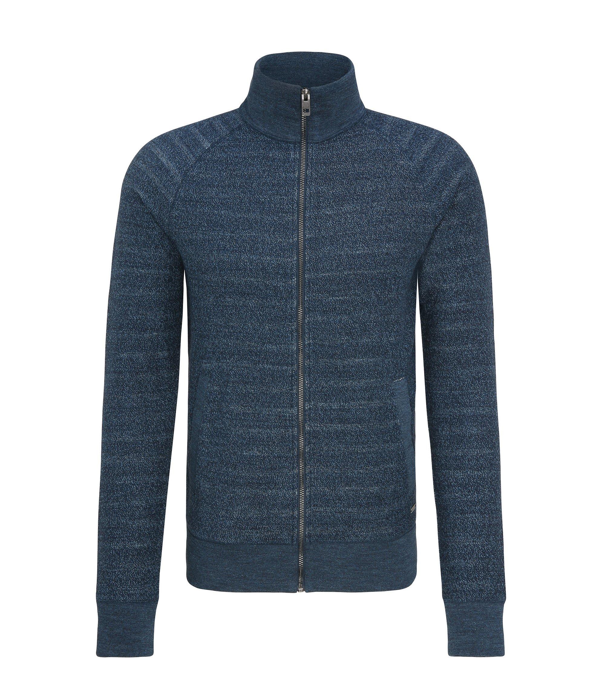 Regular-fit sweatshirt van badstof met doorlopende ritssluiting, Donkerblauw