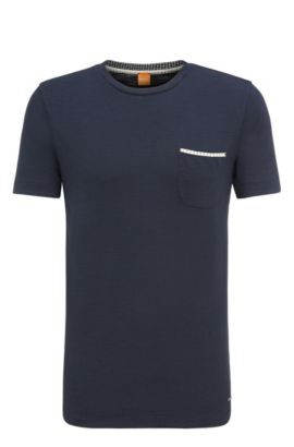T-shirt Relaxed Fit en jersey simple, Bleu foncé
