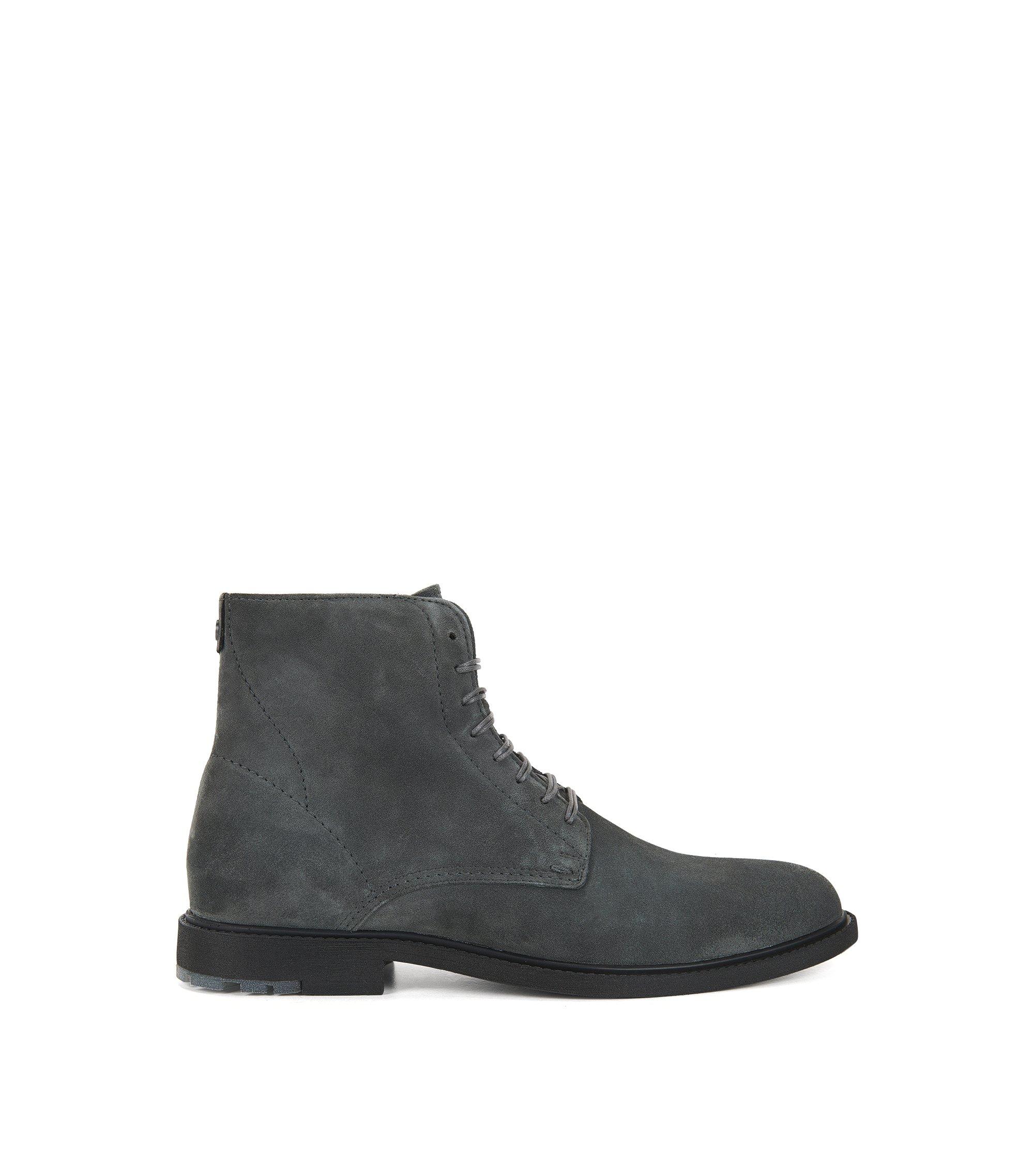 Boots à lacets en daim lavé, Gris sombre