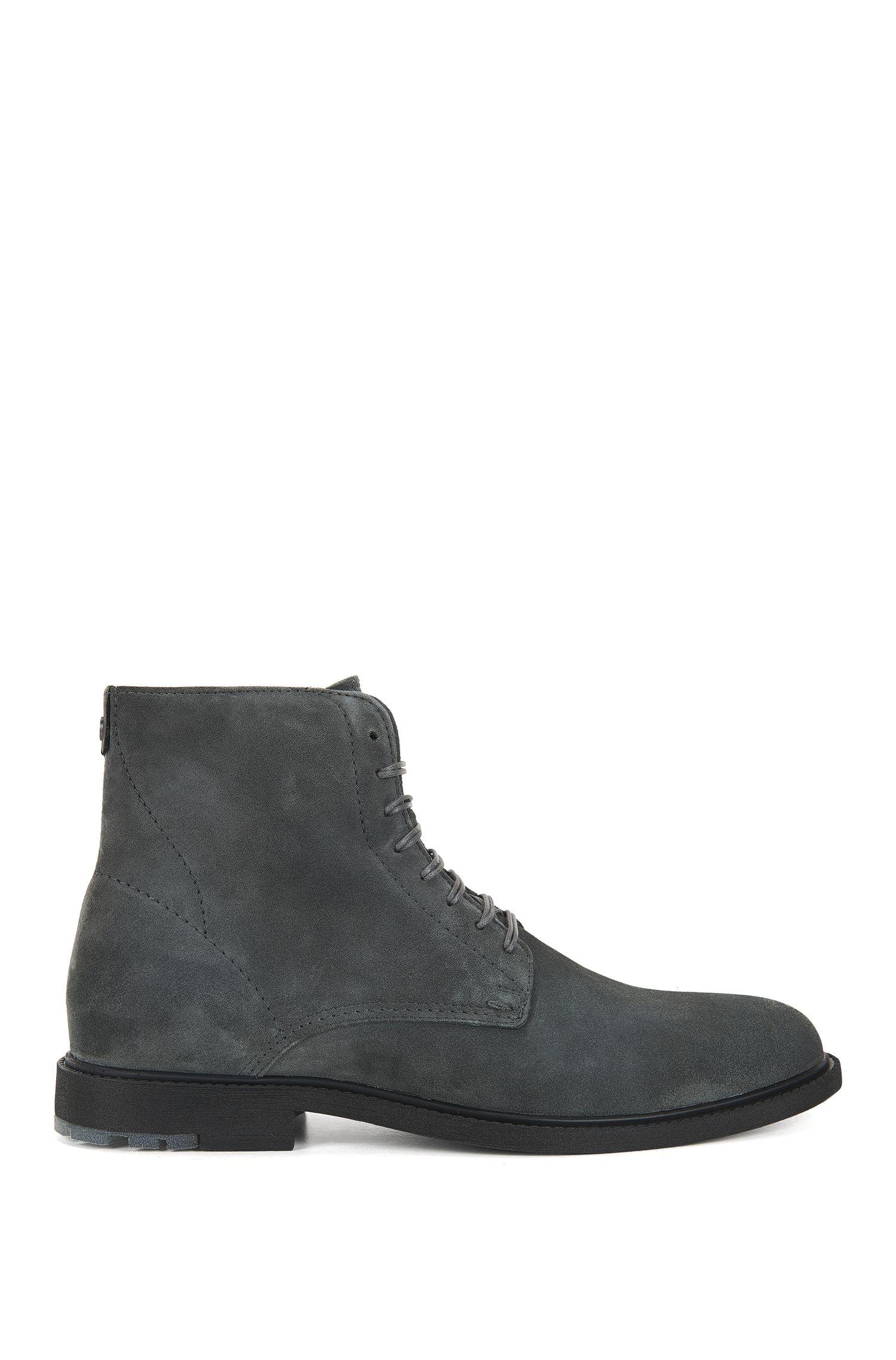 Boots à lacets en daim lavé