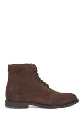 Lace-up boots in washed suede, Light Brown