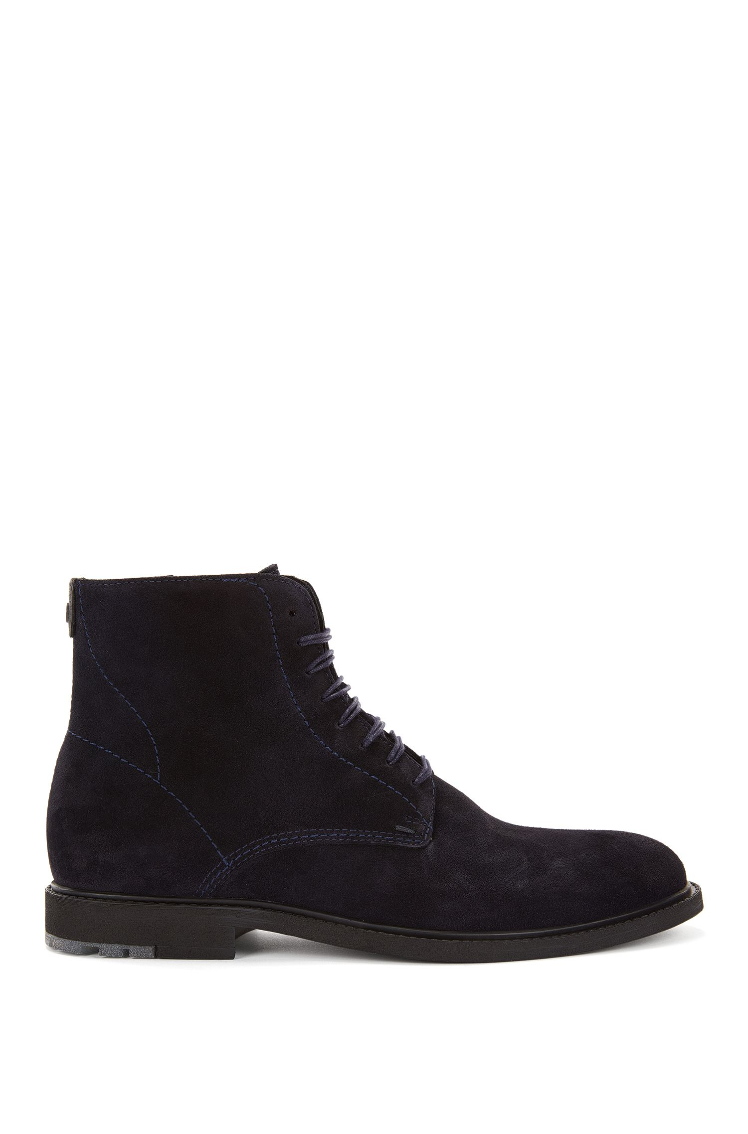 Lace-up boots in washed suede