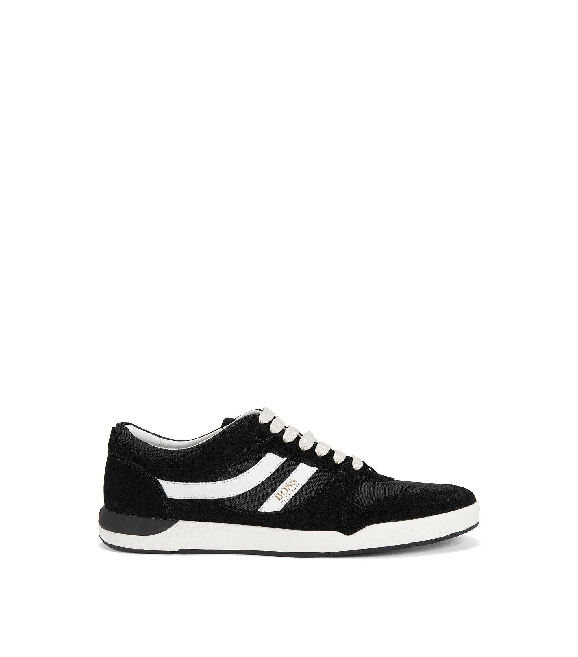 Sneakers aus Material-Mix und Veloursleder, Schwarz