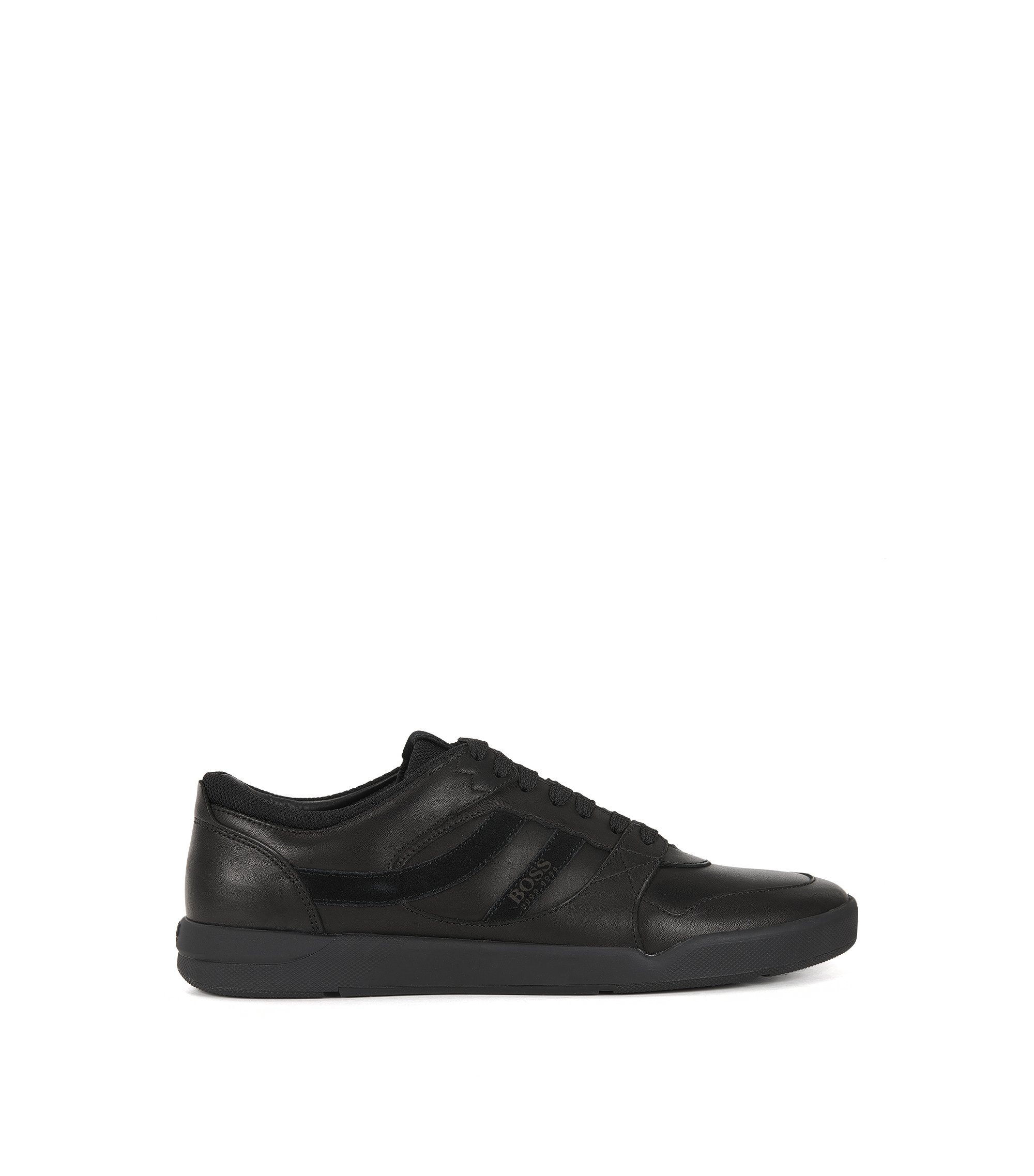 Lace-up trainers in washed leather, Black