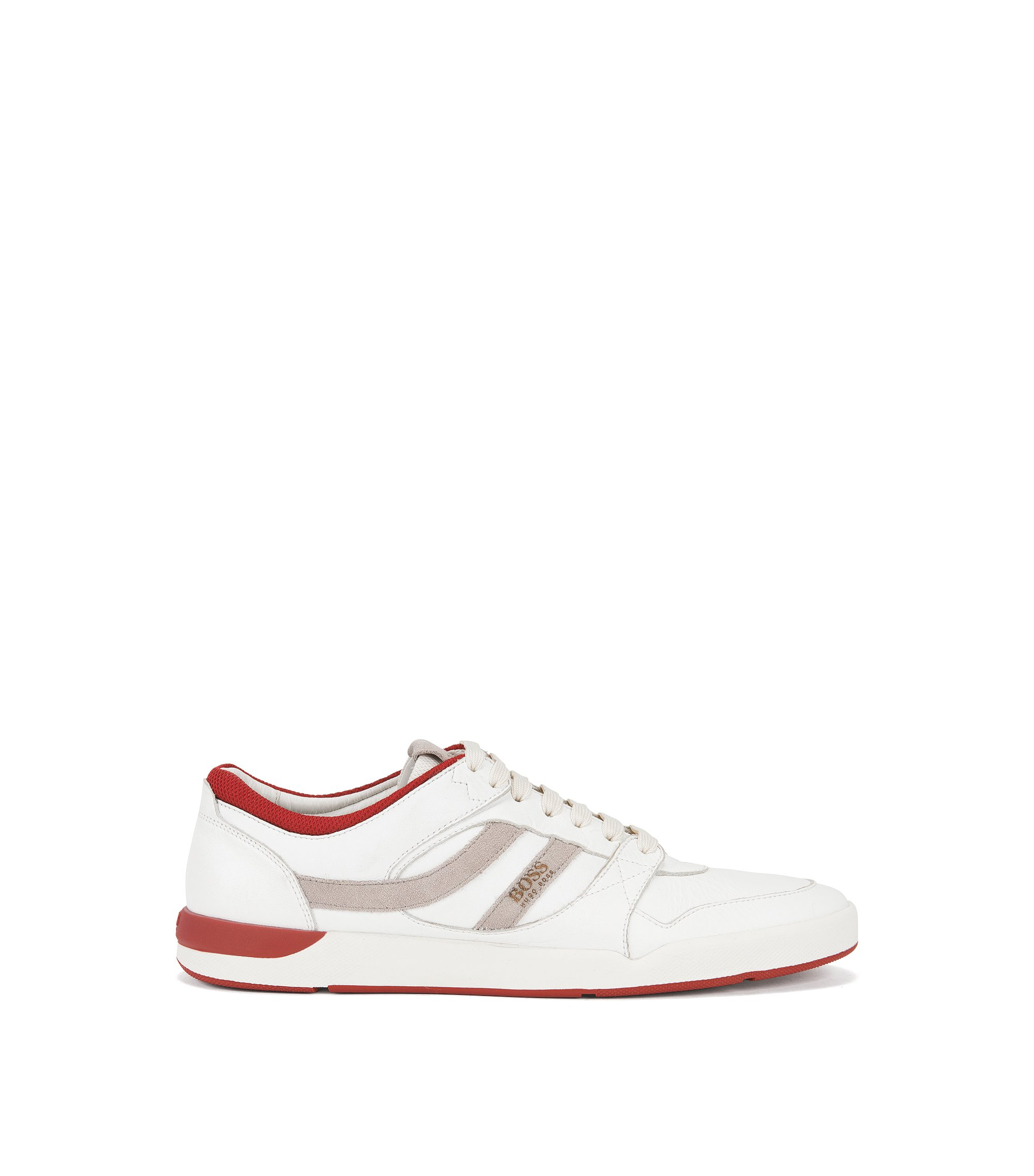 Lace-up trainers in washed leather, White