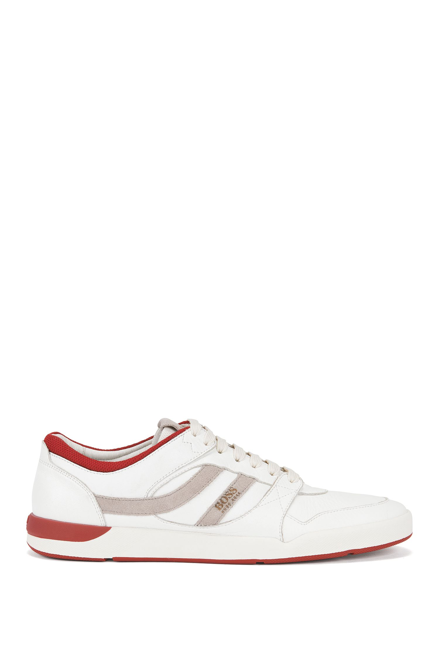 Lace-up trainers in washed leather