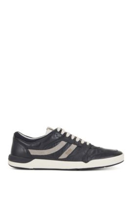 Lace-up trainers in washed leather, Dark Blue