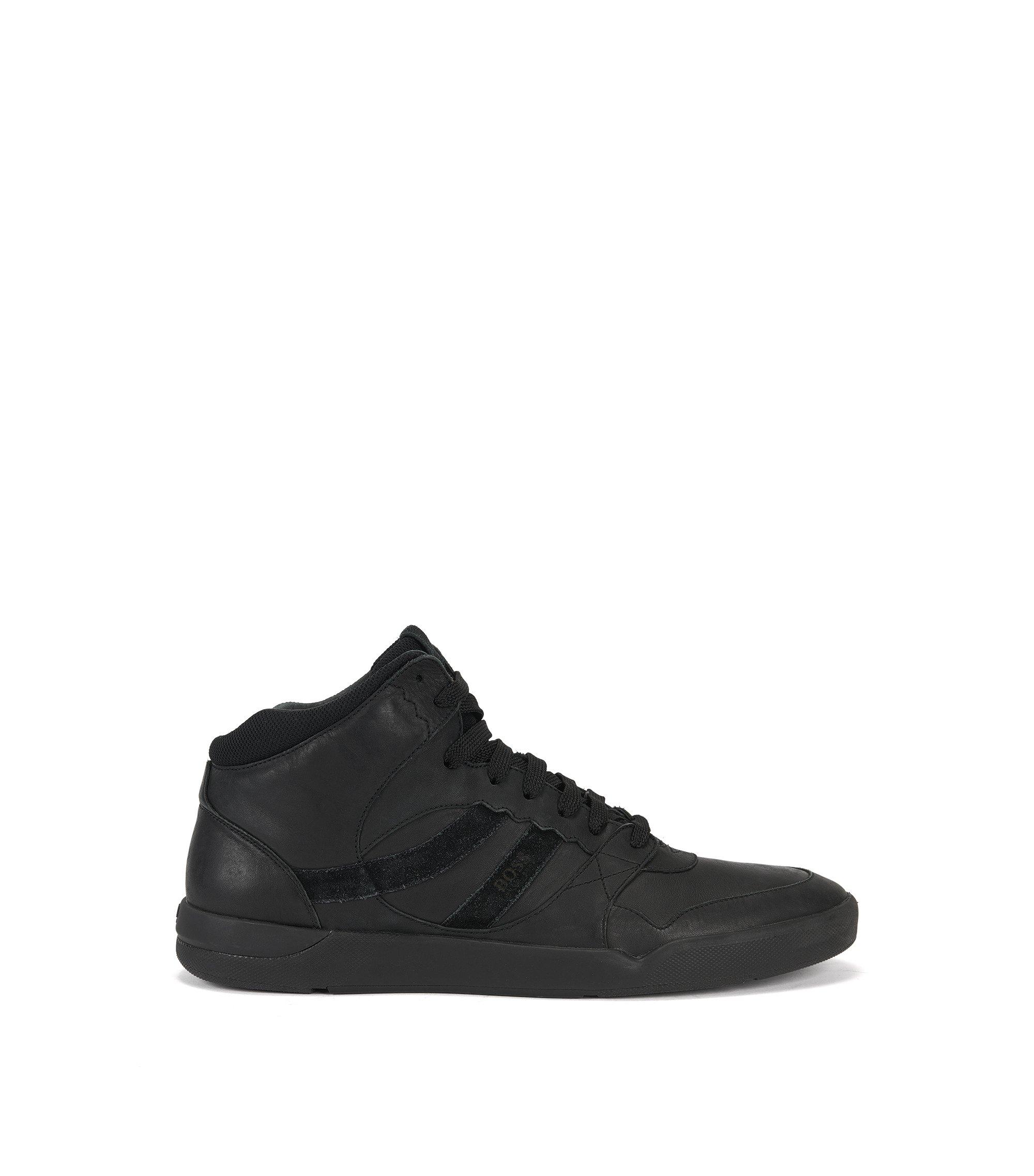 Hightop Sneakers aus gewaschenem Leder, Schwarz