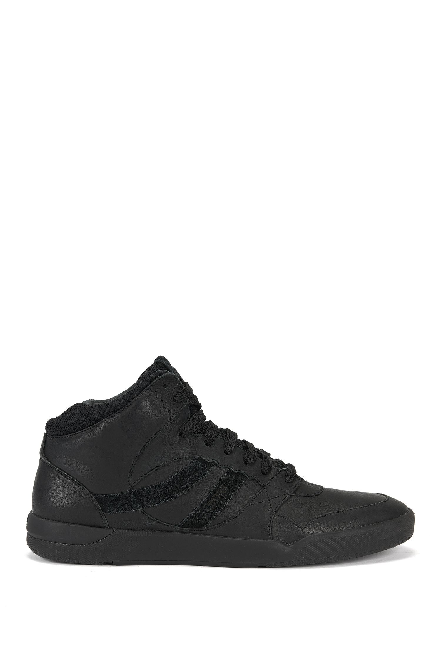 High-top trainers in washed leather