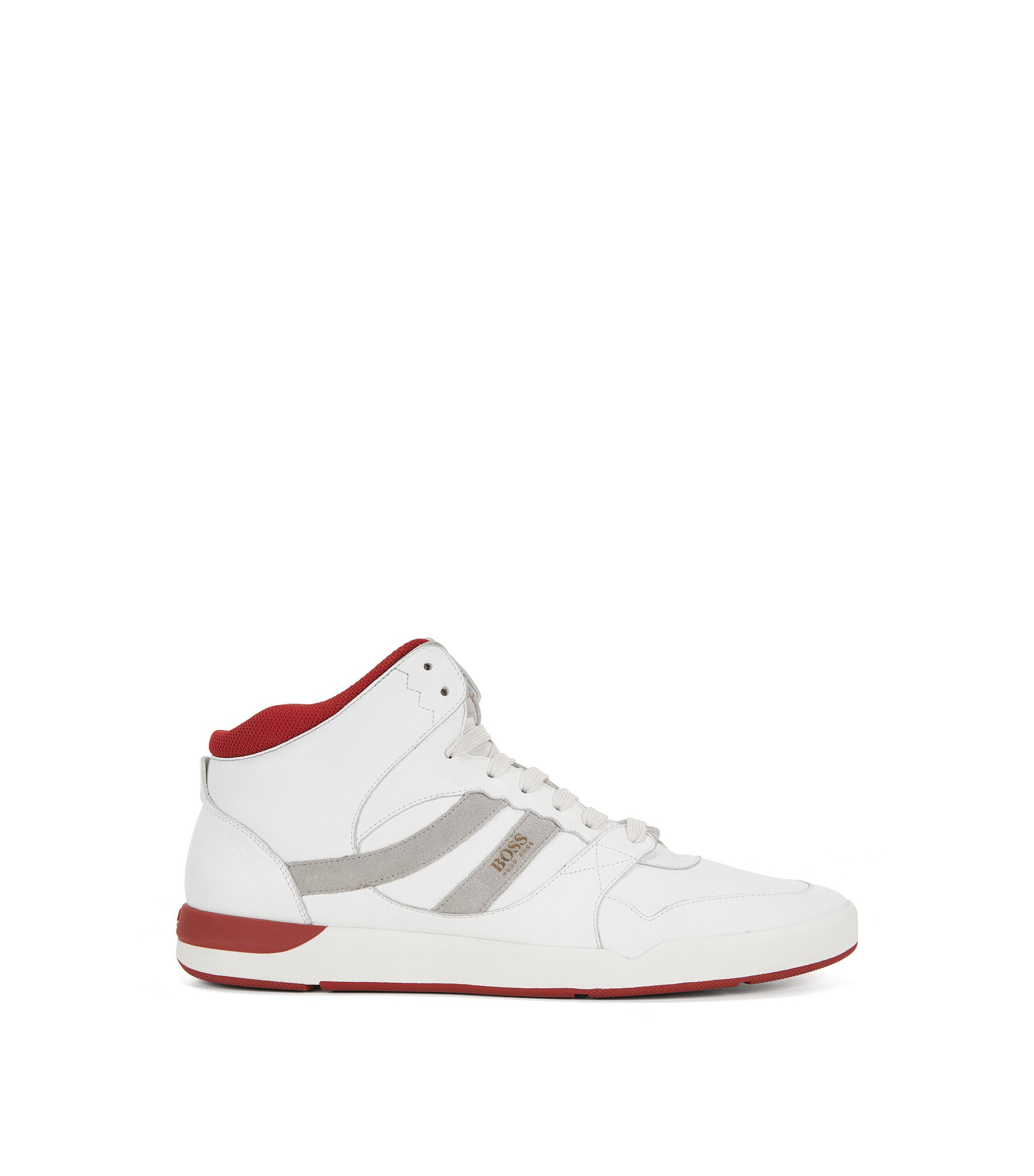High-top trainers in washed leather, White
