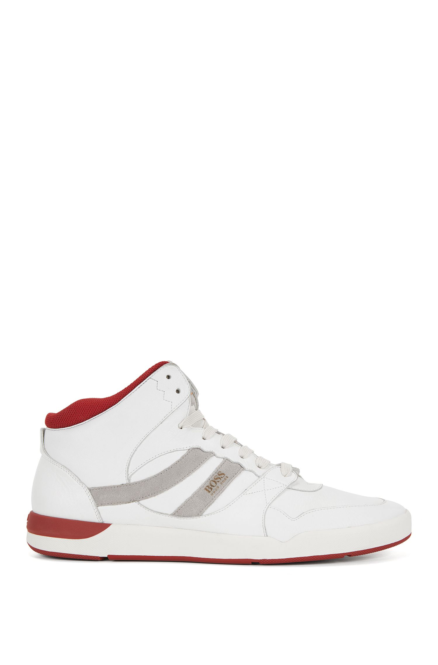 Sneakers high-top in pelle lavata