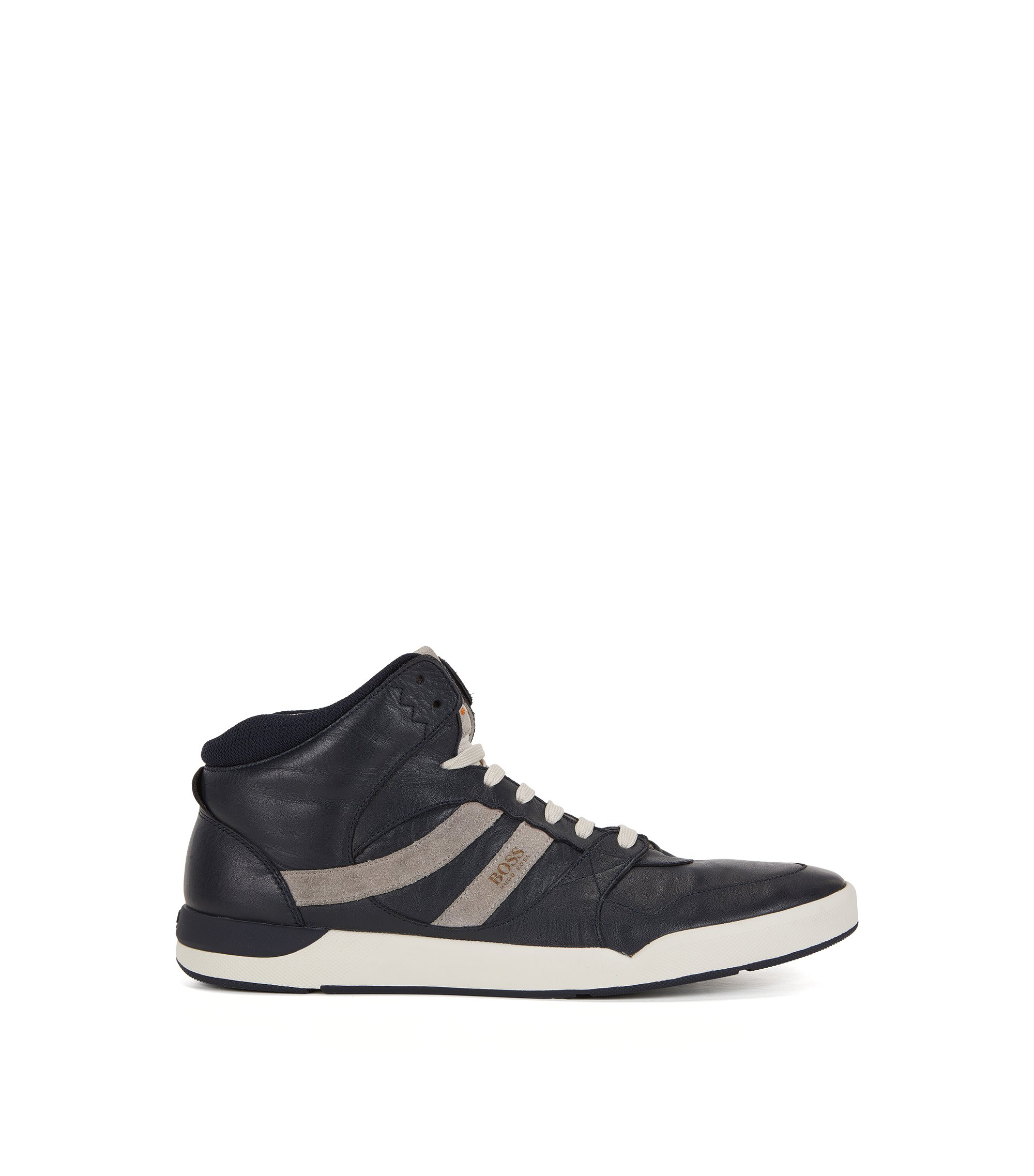 Hightop Sneakers aus gewaschenem Leder, Dunkelblau