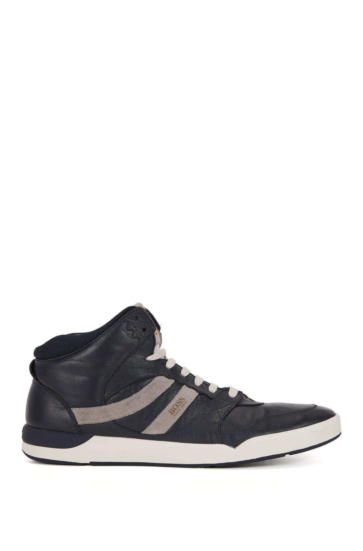 Sneakers high-top in pelle lavata