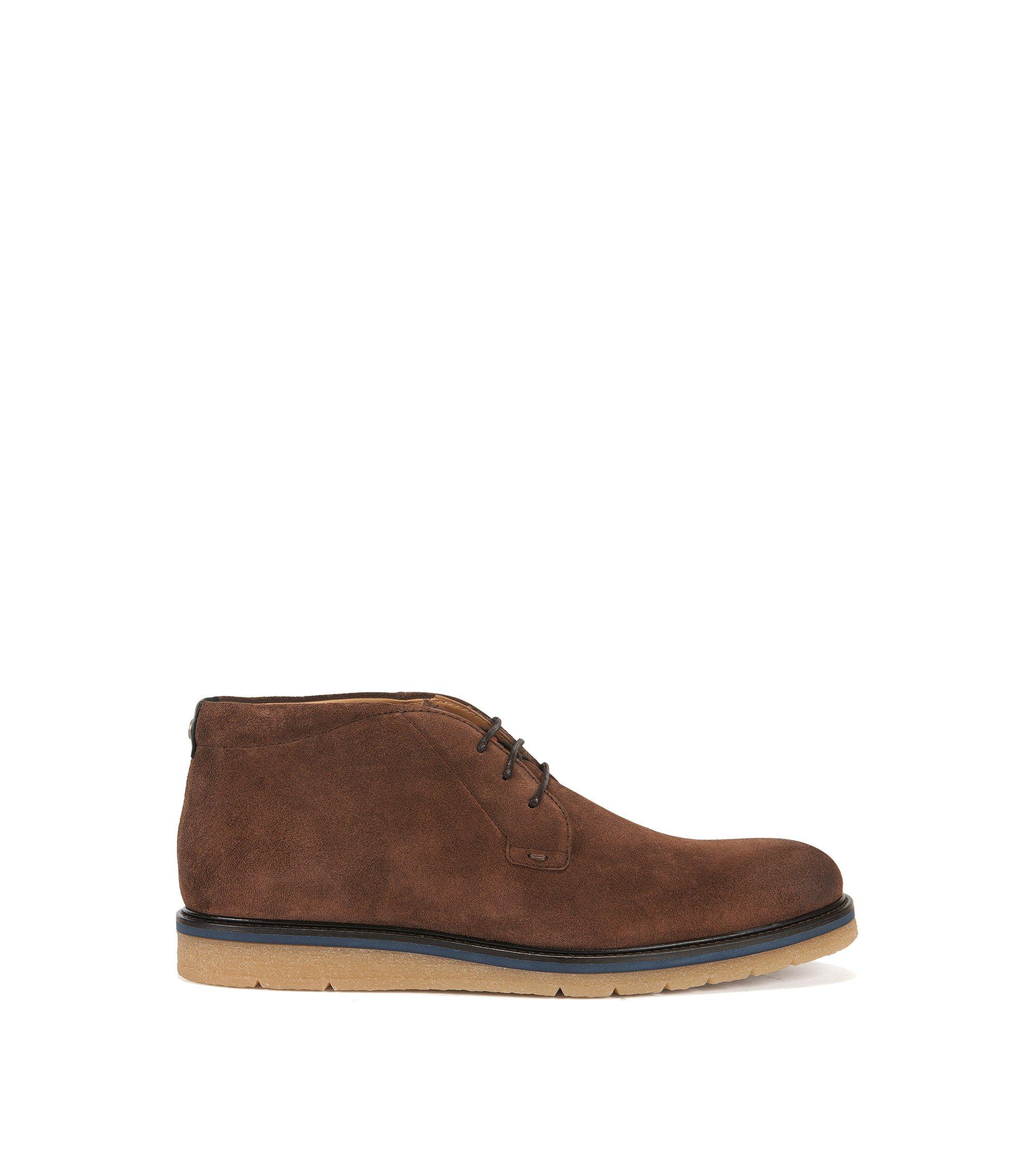 Desert boots en daim lavé, Brun chiné
