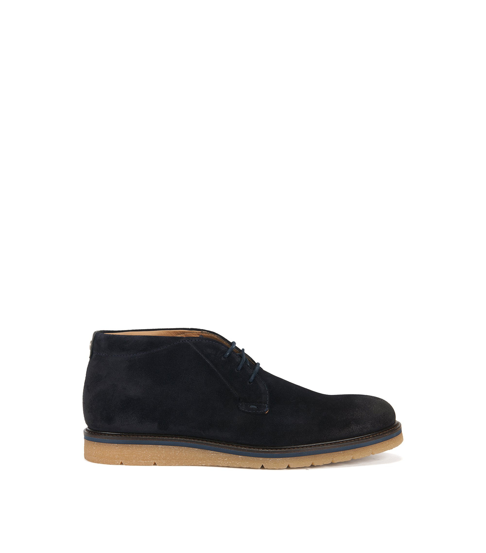 Desert boots in washed suede, Dark Blue