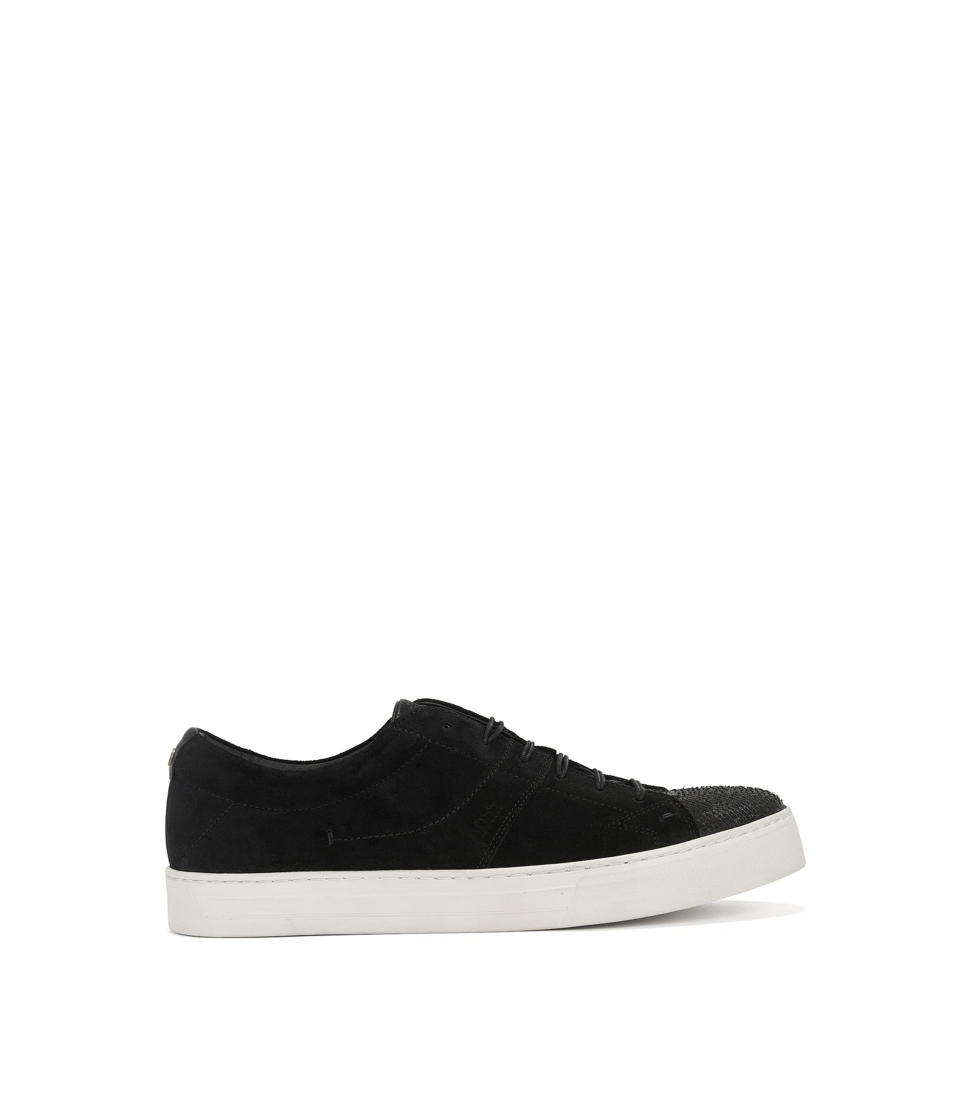Tennis shoes in washed suede and lasered leather, Black