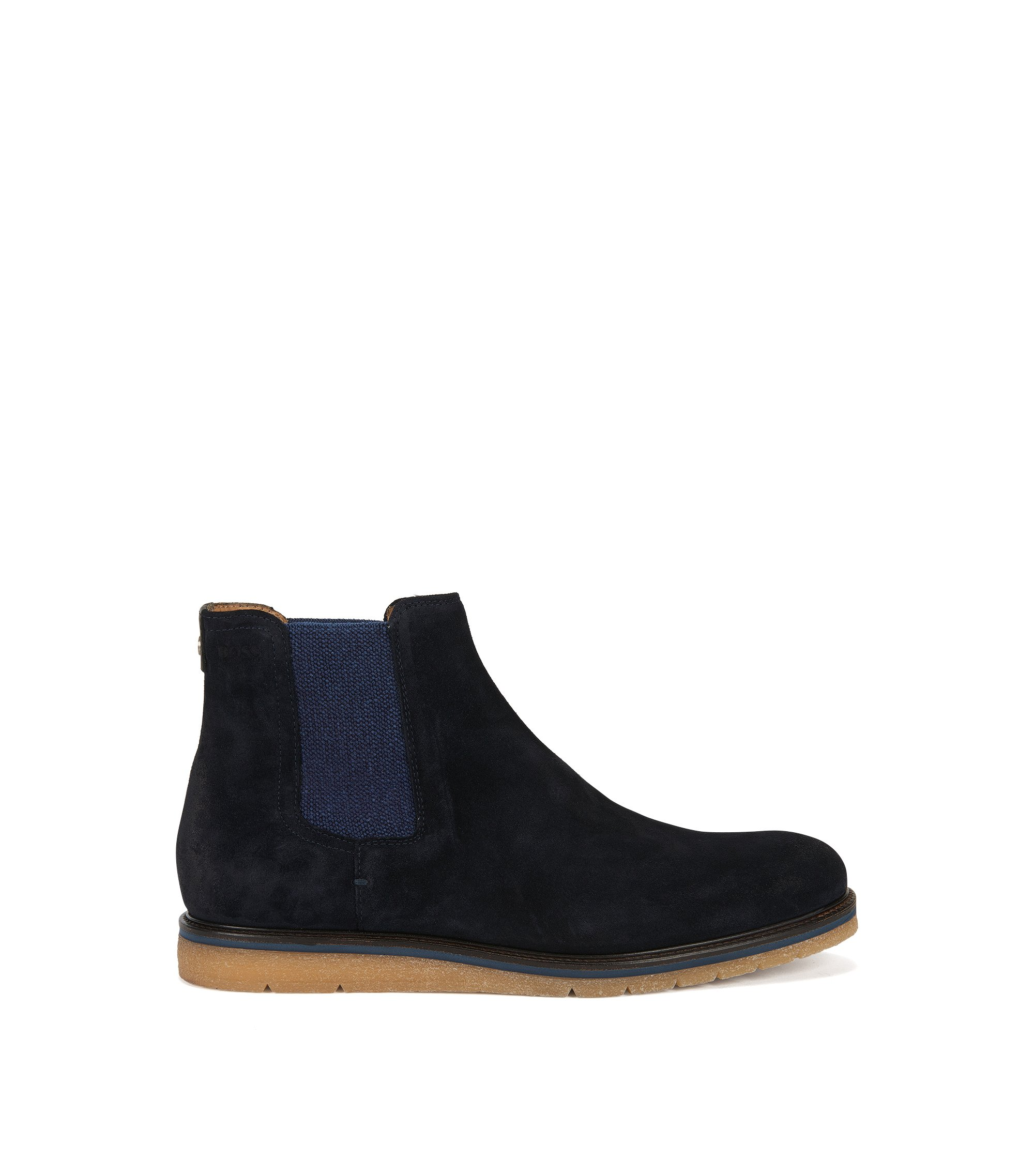 Suede Chelsea boots with wedge sole , Dark Blue