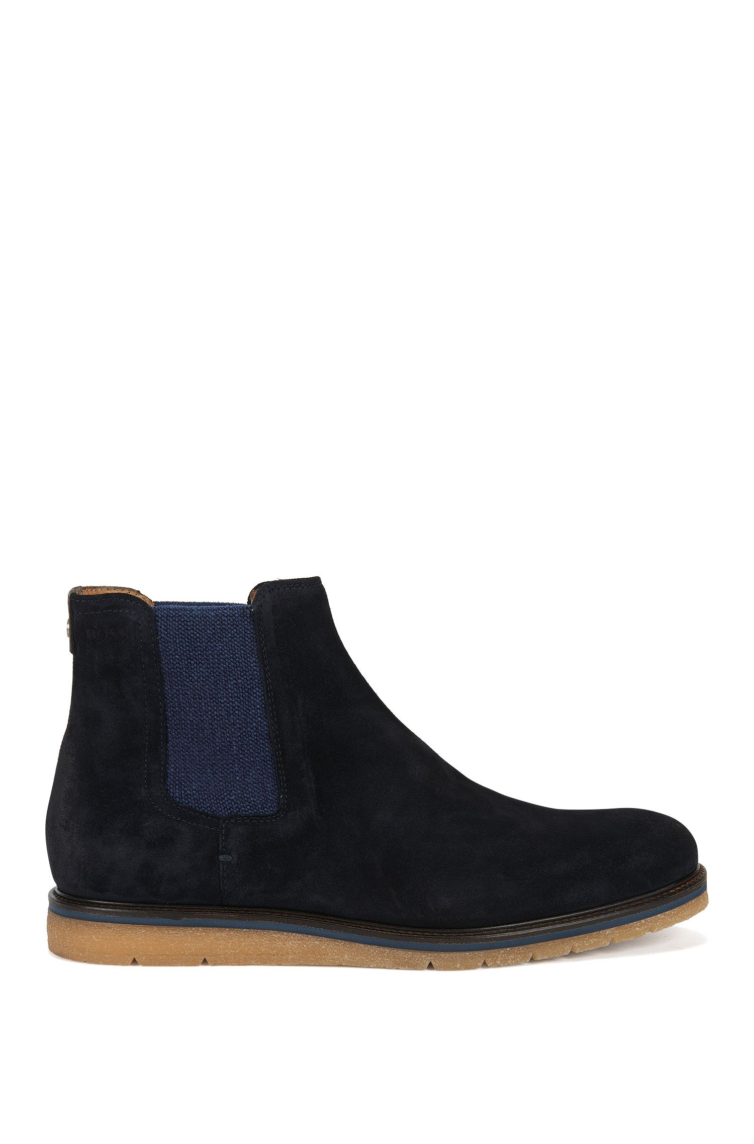 Suede Chelsea boots with wedge sole