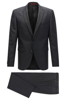 Regular-fit suit in patterned virgin wool, Anthracite