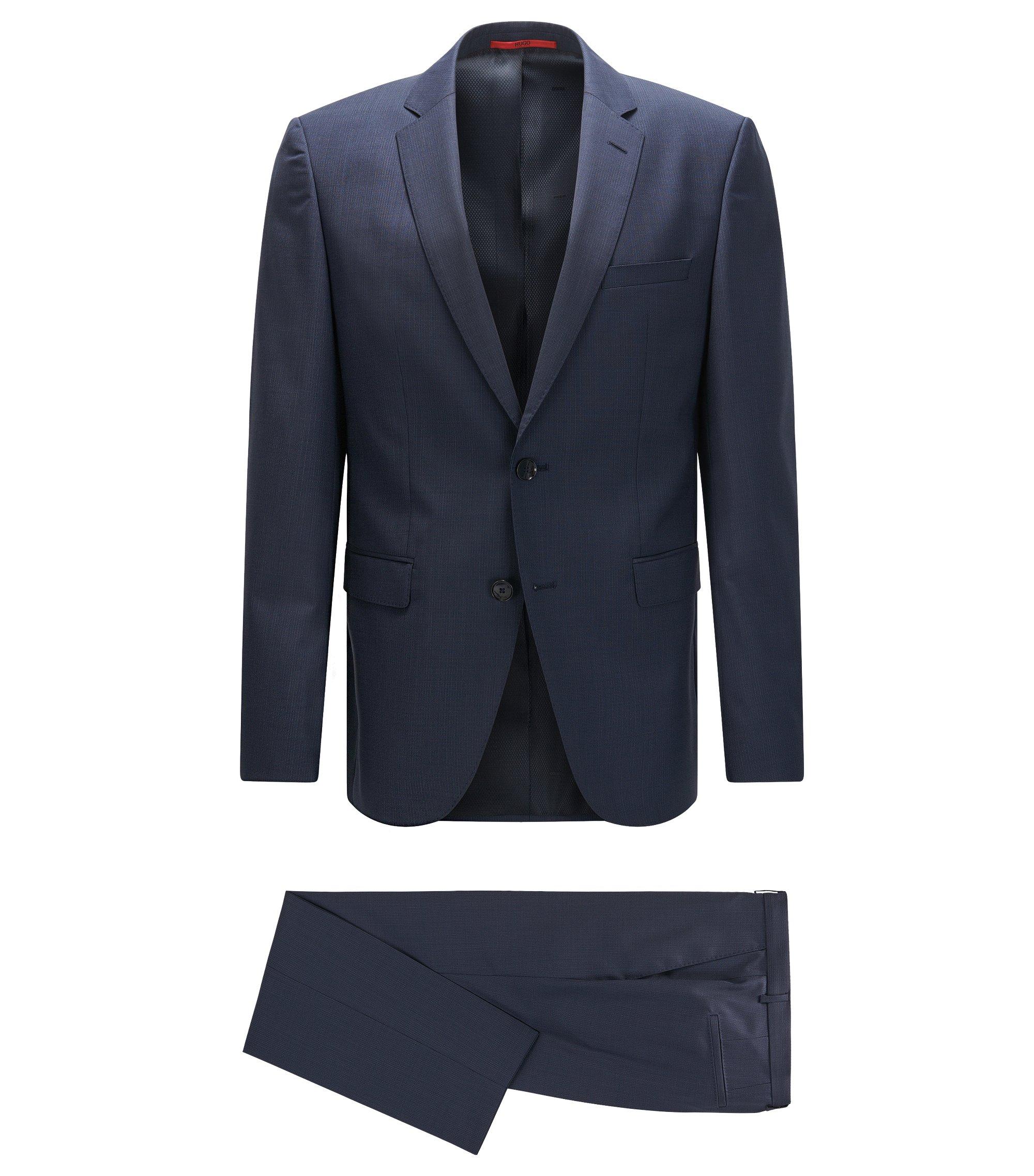 Gemusterter Regular-Fit Anzug aus Schurwolle, Dunkelblau